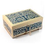 Grand Arabesque Inlay Double Level Blue and Ivory Italian 18 Note Music Box