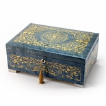 Grand Arabesque Inlay Double Level Light Blue Italian 30 Note Music Box