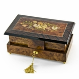 Grand 30 Note Double Level Musical Jewelry Box with Exquisite Floral Inlay