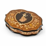 Grand One of a Kind Inlaid Dancing Couple Ercolano Musical Jewelry Box