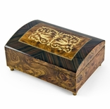 Handcrafted 18 Note Dome-Top Arabesque Inlay with Rosewood Border Music Jewelry Box