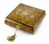 Handcrafted 18 Note Floral Inlay Music Box with Lock and Key