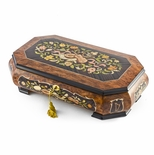 Handcrafted 18 Note Grand Double Level Music Theme Inlay Musical Jewelry Box