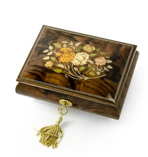 Handcrafted 18 Note Italian Walnut Floral Inlay Musical Jewelry Box with Lock and Key
