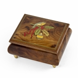 Handcrafted 18 Note Sorrento Music Box with Christmas Theme Wood Inlay of a Christmas Bird