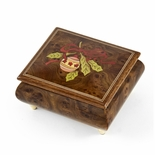 Handcrafted 18 Note Sorrento Music Box with Christmas Theme Wood Inlay of a Christmas Ornament