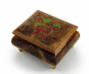 Handcrafted 18 Note Sorrento Music Box with Christmas Theme Wood Inlay of a Christmas Wreath