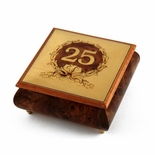 Handcrafted 22 Note 25th Anniversary or Birthday with Ornament Frame Musical Jewelry Box