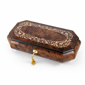 Handcrafted 22 Note Cut-Corner Music Box with Arabesque Wood Inlay Design