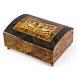 Handcrafted 22 Note Dome-Top Arabesque Inlay with Rosewood Border Music Jewelry Box