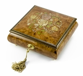 Handcrafted 22 Note Floral Inlay Music Box with Lock and Key