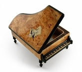 Handcrafted 30 Note Italian Grand Piano Music Box with Sheet Music Inlay