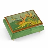 Handcrafted 22 Note Tropical Music Box Birds of Paradise and Parrot Wood Inlay
