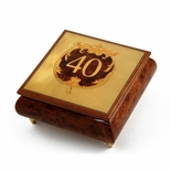 Handcrafted 30 Note 40th Anniversary or Birthday with Ornament Frame Musical Jewelry Box