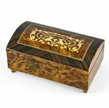 Handcrafted 30 Note Arabesque Inlay with Rosewood Border Music Jewelry Chest