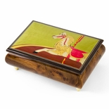 Handcrafted 30 Note Carousel Horse Wood Inlay Musical Jewelry Box