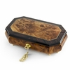 Handcrafted 30 Note Classic Style Cut Corners Music Jewelry Box with Lock and Key