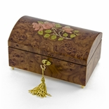 Handcrafted 30 Note Wood Tone Floral Inlay Treasure Chest Musical Jewelry Box