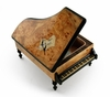 Handcrafted 36 Note Italian Grand Piano Music Box with Sheet Music Inlay