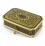 Handcrafted 36 Note Swiss Gold Arabesque Musical Jewerly Box
