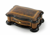 Handcrafted 72 Note Reuge Hi Gloss Music Box with Classic Style Wood Inlay