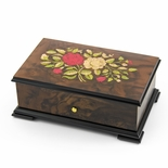 Handcrafted 72 Note Sankyo Red and White Rose Inlay Grand Music Box