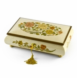 Handcrafted Bianco 18 Note Roses Inlay Musical Jewelry Box with Lock and Key
