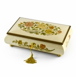 Handcrafted Bianco 30 Note Roses Inlay Musical Jewelry Box with Lock and Key