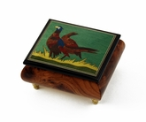 Handcrafted Birds Theme Italian Music Box with Pheasant Inlay