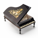Handcrafted Black Lacquer Music and Floral Inlay 30 Note Piano Music Jewelry Box