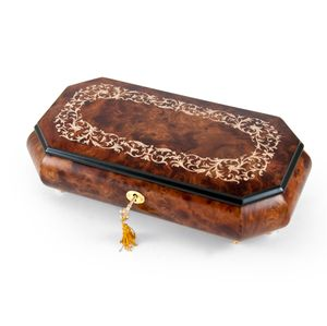 Handcrafted Cut-Corner Music Box with Arabesque Wood Inlay Design