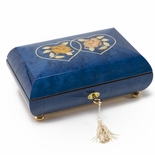Handcrafted Dark Blue Double Heart with Floral Inlay 18 Note Music Box