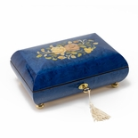 Handcrafted Dark Blue Stain Floral Inlay Italian 36 Note Music Box