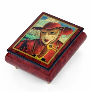 "Handcrafted Ercolano Music Box Featuring ""Fortune Teller"" by Alex Levin"