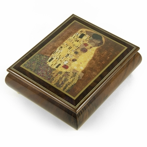 "Handcrafted Ercolano Music Box Featuring ""The Kiss"" by Klimt Gustay (1862-1918)"