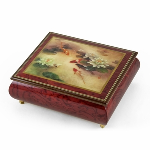 "Handcrafted Ercolano Music Box with Painted Scene ""Lily Pond"" by Lena Liu"