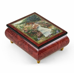 "Handcrafted Ercolano Music Box With Painted Scene ""Quite Garden"" By Sandra Kuck"