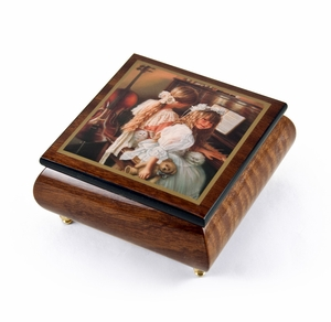 """Handcrafted Ercolano Music Box with Painted Scene """"Rhapsody and Lace"""" by Sandra Kuck"""
