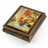 "Handcrafted Ercolano Music Box with Painted Scene ""Roses from Monet's Garden "" by Lena Liu"