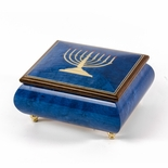 Handcrafted Italian Dark Blue Menorah Music Box