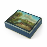 "Handcrafted Italian Ercolano Musical Jewelry Box - ""A View of Tuscany"" by Dennis Patrick Lewan"