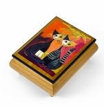 "Handcrafted Italian Ercolano Musical Jewelry Box - ""Together"" By Rosina Wachtmeister"