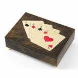 Handcrafted Italian Poker Theme Inlay of 4 of a Kind ACES music box