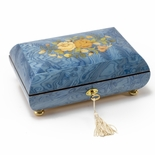 Handcrafted Light Blue Floral Inlay Italian 36 Note Music Box