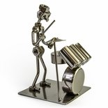 Handcrafted metal musician with drum set figurine