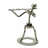 Handcrafted metal musician with flute figurine