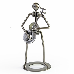 Handcrafted metal musician with guitar figurine