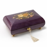 Handcrafted Purple Stain Floral Inlay Italian 36 Note Music Box