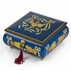 Handcrafted Radiant Blue 22 Note Roses and Ribbons Musical Jewelry Box with Lock and Key