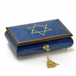 Handcrafted Royal Blue Music Jewelry Box with Star of David Inlay